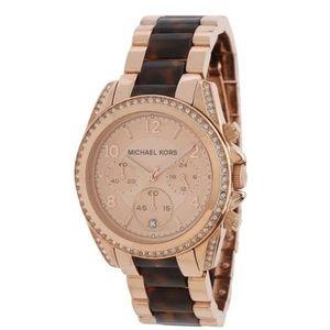 Michael Kors Rose Gold Crystal Tortoise Watch